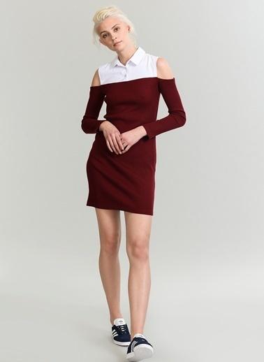 People By Fabrika Poplin Detaylı Elbise Bordo